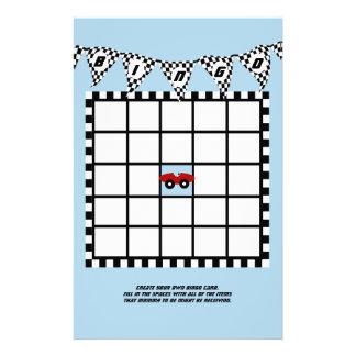 Race Car Baby Shower Bingo Customized Stationery