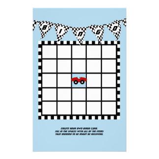 Race Car Baby Shower Bingo Personalized Stationery