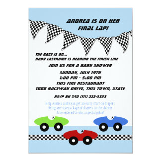 Race Car Baby Shower Card
