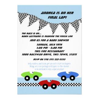 Race Car Baby Shower Announcement
