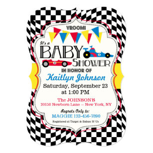 Car baby shower invitations zazzle race car baby shower invitation card stopboris Choice Image