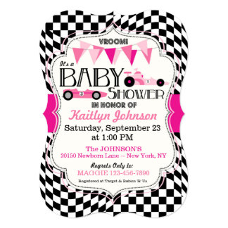 Race Car Baby Shower Invitation Card