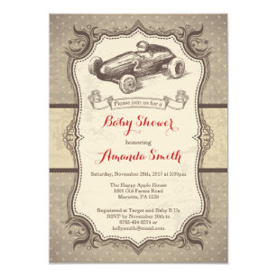 Retro baby shower invitations zazzle race car baby shower invitation vintage retro filmwisefo