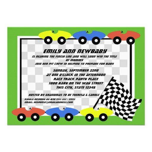 race car baby shower 5x7 paper invitation card zazzle