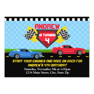 Race Car Birthday Invitation 5x7 Card Invitations