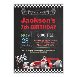 Race Car Birthday Invitation Boy Party