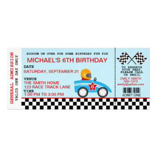 Race Car birthday invitation customizable
