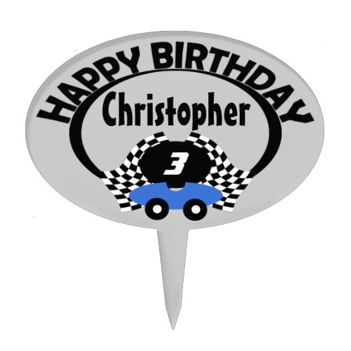Race Car Birthday Name Cake Toppers  Zazzle