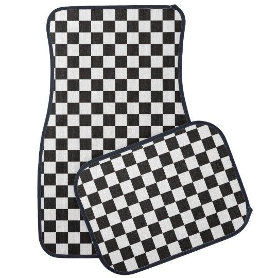 Race Car Black And White Checker Flag Pattern Car Mat Zazzle