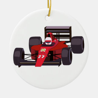 Race Car Ceramic Ornament