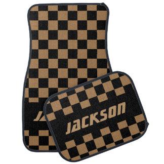 Race Car Checkered Flag in a Tan & Black Pattern Car Floor Mat
