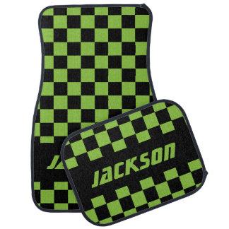 Race Car Checkered Flag Pattern|Black & Lime Green Car Floor Mat