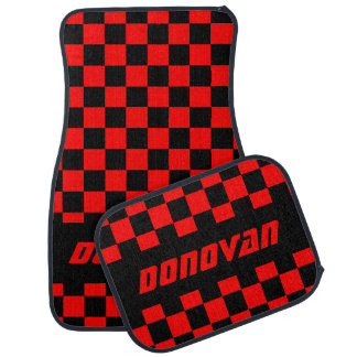 Race Car Checkered Flag Pattern | Black & Red Car Floor Mat