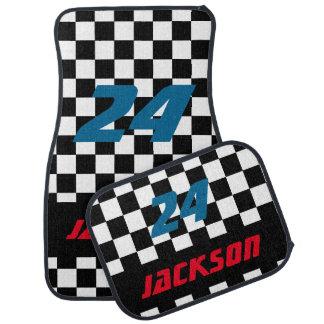 Race Car Checkered Flag Pattern | DIY Color & Text Car Floor Mat