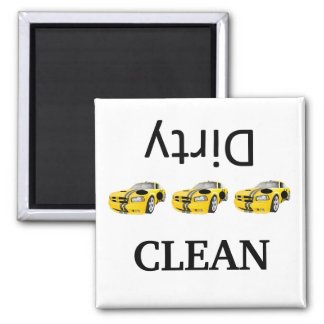 race car  clean-dirty Dishwasher Magnets