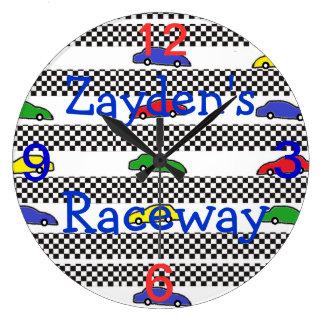 race car clock-edit name large clock