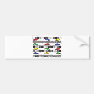 race car colorful bumper sticker