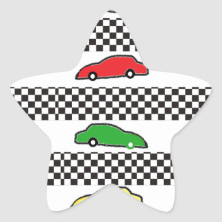 race car colorful star sticker