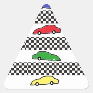 race car colorful triangle sticker
