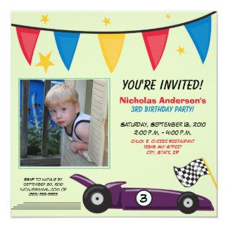 Race Car Custom Birthday Party Invitation (green)