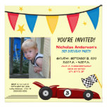 Race Car Custom Birthday Party Invitation (yellow)