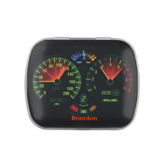 Race Car Dashboard Design Party Favor Jelly Belly Tin