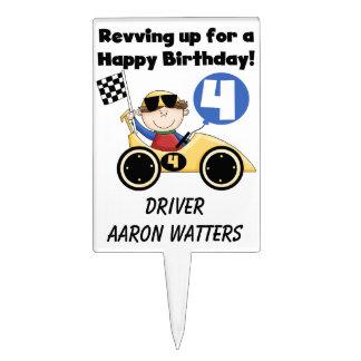Race Car Driver 4th Birthday Cake Topper