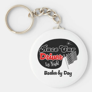 Race Car Driver by Night Barber by Day Basic Round Button Keychain