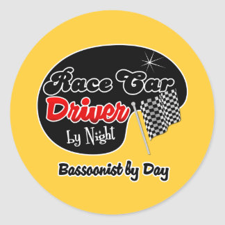 Race Car Driver by Night Bassoonist by Day Classic Round Sticker