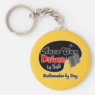 Race Car Driver by Night Boilermaker by Day Basic Round Button Keychain