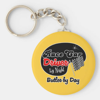 Race Car Driver by Night Butler by Day Keychain