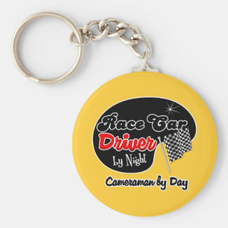 Race Car Driver by Night Cameraman by Day Basic Round Button Keychain