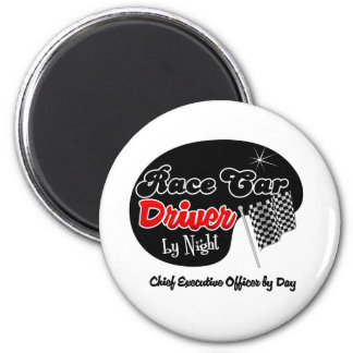 Race Car Driver by Night Chief Executive Officer b 2 Inch Round Magnet