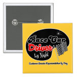 Race Car Driver by Night Customer Service Represen Buttons