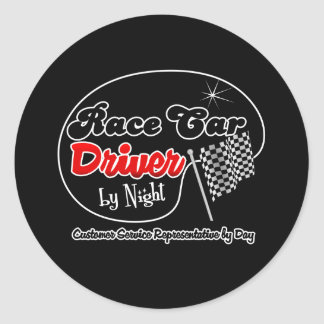 Race Car Driver by Night Customer Service Represen Classic Round Sticker