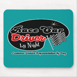 Race Car Driver by Night Customer Service Represen Mousepads