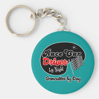 Race Car Driver by Night Gemcutter by Day Basic Round Button Keychain