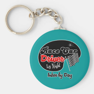 Race Car Driver by Night Inker by Day Basic Round Button Keychain
