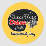 Race Car Driver by Night Interior Designer by Day Classic Round Sticker