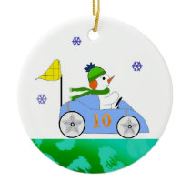Race Car Driver Snowman Ceramic Ornament