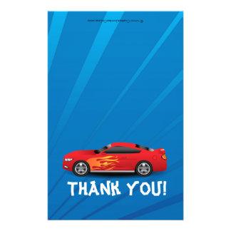 Race Car Flames Boy's Birthday Thank You Fold-Over Flyer