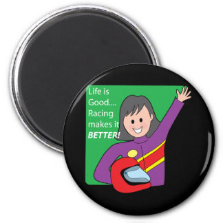 Race Car Girl 2 Inch Round Magnet