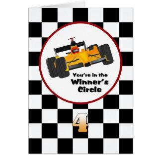 Race Car Happy 4th Birthday Card
