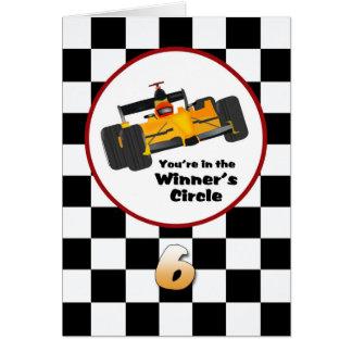 Race Car Happy 6th Birthday Card