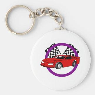 Race Car Logo Basic Round Button Keychain