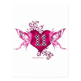 race car number 11 butterfly postcard