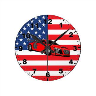 Race car on US flag design wall clocks