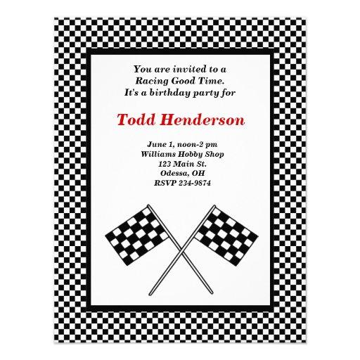 Race Car Party Invitation