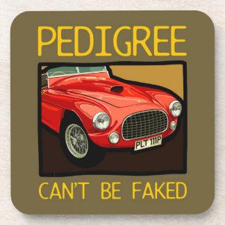 Race car pedigree, red classic racing car coaster