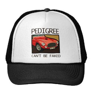 Race car pedigree, red classic sports car trucker hat